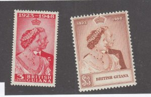 BRITISH GUIANA # 244-245 VF-MNH 1948 KING GEORGE VI SILVER WEDDING-SET #2 CV $24