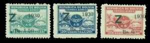 BOLIVIA 1932 Airmail - ZEPPELIN (Z) surcharged set Scott C24-26 mint VLH