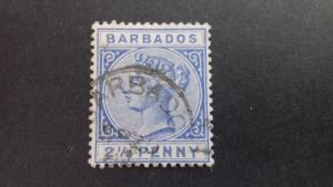 Barbados 1882 -1886 Queen Victoria 2 1/2 pence Used