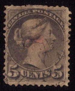 CANADA Sc #38 SLATE GREEN  Used F-VF
