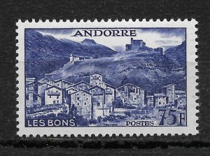 French Andorra 1955, 75fr Key Value Scott # 142,VF MNH**OG