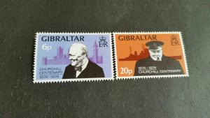 GIBRALTAR 1974 SG 337-338 BIRTH CENT OF CHURCHILL MNH
