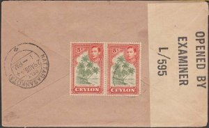CEYLON 1944 Censor cover to India with local censor tape....................T237