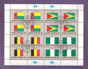 United Nations New York #389a  cancelled 1982 sheet flags cape verde  Guyana