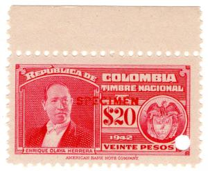 (I.B) Colombia Revenue : State Duty $20 (ABN specimen)