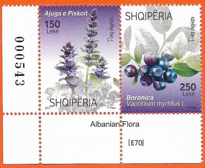 [E70] Albania 2017, Albanian Flora. Gim.Nr. 3699-3700,MNH