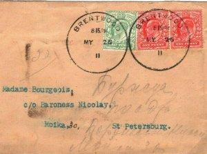 GB Cover Essex *Brentwood* SKELETON Russia St Petersburg Unusual Usage 1911 61.3