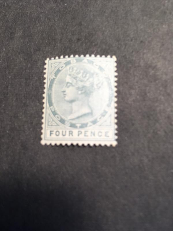 Tobago Scott 20 or SG 23 Mint Fresh & F-NH 1885 4 Pence Grey - Scarce NH