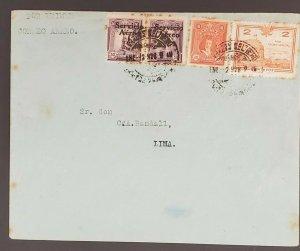 1928 Lima Peru Multi Franking Overprint Cancel Multi Franking Air Mail Cover
