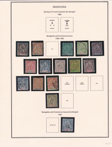 IndoChina Used Collection on Eight pages in Mounts, 1/3 Cat.