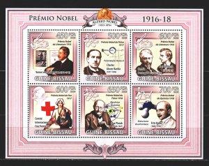 Guinea-Bissau. 2009. Small sheet 4532-37. Nobel laureates, red cross. MNH.