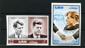 AJMAN 1968 FAMOUS PEOPLE BROTHERS KENNEDY SET OF 2 STAMPS IMPERF. MNH