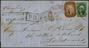 #29 ON COVER WITH PAID RED CANCEL MARCH 6 VF+ CV $550.00 BP5385