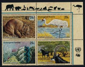 United Nations - New York 623a TR Block MNH Endangered Species, Crane, Wombat
