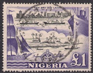 Nigeria 1953 - 58 QE2 £1 Violet & Black Used SG 80 ( K118 )