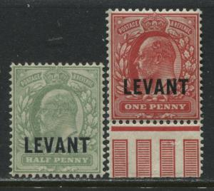 Turkish Empire KEVII 1905  1/2d and 1d overprinted LEVANT mint o.g.