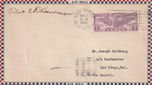 1930, San Diego, CA to Seattle, WA, Airmail, Signed by Pilot (41312)
