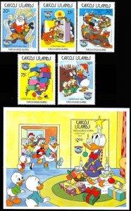 Caicos Island 1984 Disney Christmas 4 Stamp Set + S/S Scott #54-9  20K-003