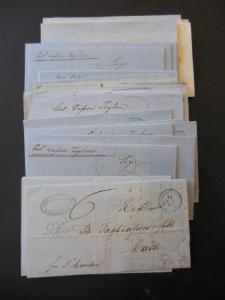 EGYPT : An incredible group of 35 Stampless Folded Letters to Malta