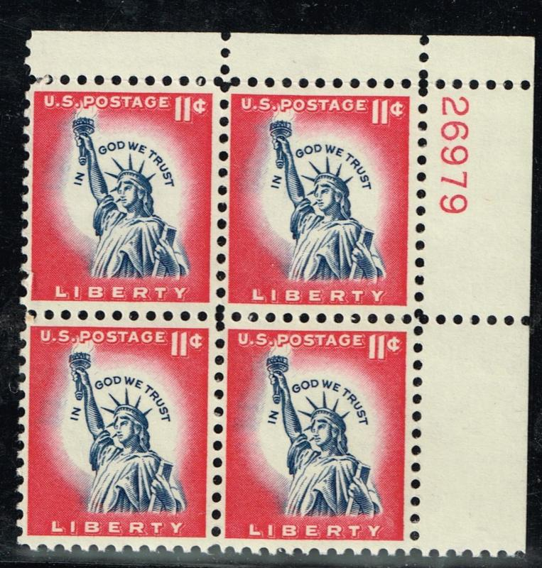 USA 1044A - Statue of Liberty - Plate Block - MNH - F/VF CV$2.50