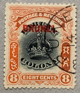 Brunei 1906 8c Labuan Crown, used.  Scott 7, CV $37.50. SG 17