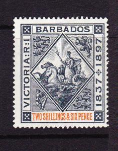 BARBADOS 1897 2/6 BLACK/RED  MLH  SG 124