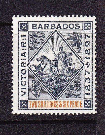 BARBADOS 1897 2/6 BLACK/RED  MLH  SG 124