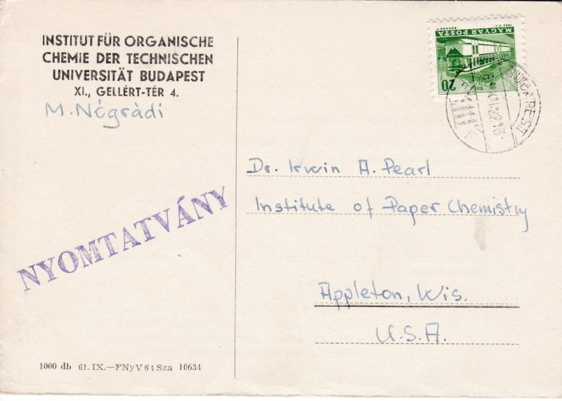 Hungary 1963 Card 20fl. Trolley Bus Debrecen to USA. printed matter