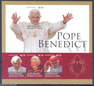 MAYREAU  POPE BENEDICT XVI IMPERFORATED SHEET MINT NH