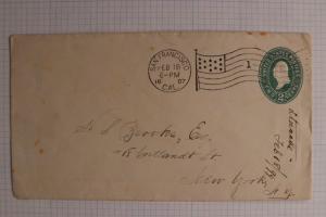 US flag cancel U318 entire 1897 San Francisco G. Staacke backstamp Studebaker DL