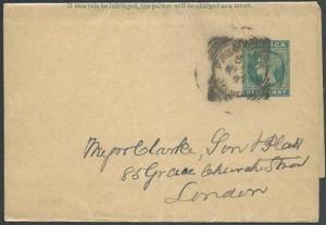 JAMAICA 1895 ½d newspaper wrapper FALMOUTH squared circle pmk to UK........64349