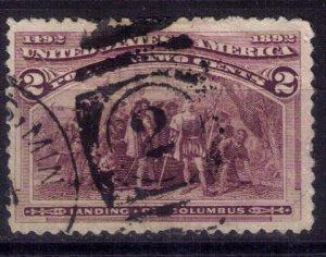 US Sc #231 USED COLUMBUS LANDING 2 CENT Very Fine