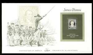 US US #562, 10c James Monroe,  STERLING SILVER RELIEF Cover, fresh and clean,...