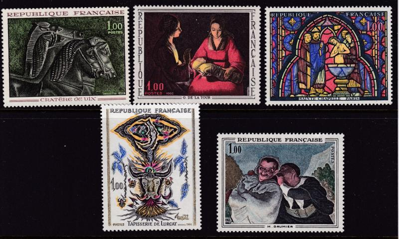 France 1966 ART Issue Complete (5) Beautiful Stamps in Pristine Condition VF/NH