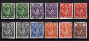 St Lucia 1938-48 George VI Definitive Partial Set (with perf variations)