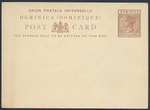 DOMINICA QV 1½d postcard fine unused.......................................46168