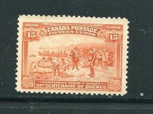 Canada #102  Mint VF  very lightly hinged