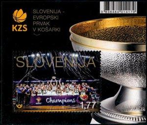 HERRICKSTAMP NEW ISSUES SLOVENIA Sc.# 1254 European Basketball Champions S/S