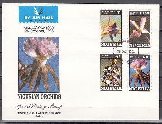 Nigeria, Scott cat. 624-627. Nigerian Orchids on a First Day Cover.