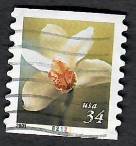 US #3480 Flowers Used PNC Single plate #B2122