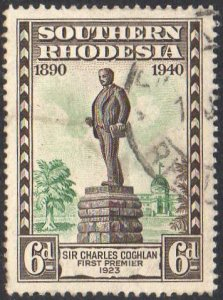 Southern Rhodesia 1940 6d Statue of Sir Charles Coghlan used