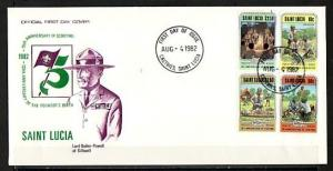 St. Lucia, Scott cat. 587-590. Scouting 75th Anniversary. First day cover. ^