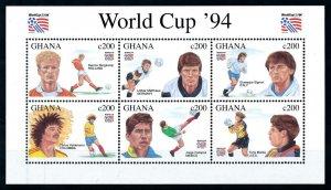 [101619] Ghana 1994 World cup football soccer USA Matthaus Valderama Sheet MNH