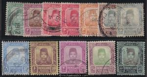1910-19 Malaya Trengganu Definitives (12), SG 11-4 + 5a-9 +11-12 + 14, used