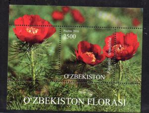 STAMPS - UZBEKISTAN - FLOWERS - MINIATURE SHEET - 2016 -