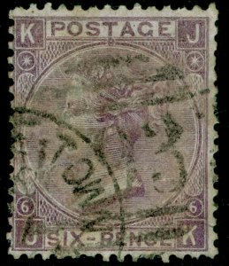 SG104, 6d lilac plate 6, USED. Cat £175. JK