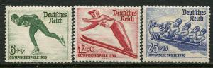GR Lot 10370 German Postage 1935 Michel 600x-602x OGHR Winter Olympics