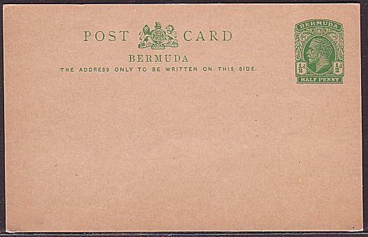 BERMUDA GV ½d postcard fine unused (35349)