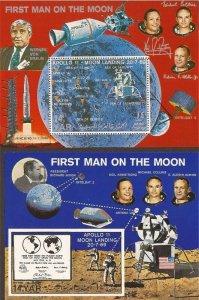 Yemen - 1969 Apollo 11 Moon Landing - Set of 2 Souvenir Sheets - Scott #265G