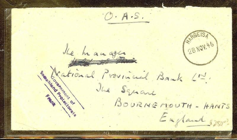 SOMALILAND (P0210B) 1946 OAS FREE FRANK COVER TO ENGLAND